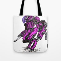 the neighbourhood Tote Bags featuring Just Your Friendly Neighbourhood Cyborg Alien by Skylab