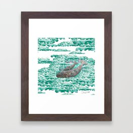 Mama + Baby Gray Whale in Ocean Clouds Framed Art Print