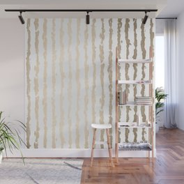White Gold Sands Vertical Ink Stripes Wall Mural