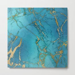 Electric Blue Marble Metal Print