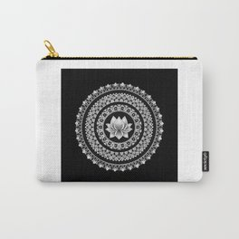 Black and White Lotus Mandala Carry-All Pouch