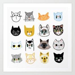 Cats Doodled Art Print