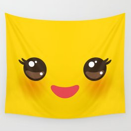 Kawaii Cartoon Face on yellow background Wall Tapestry