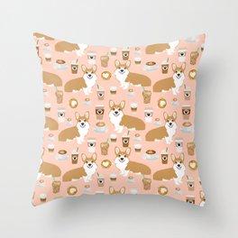 Corgi coffee welsh corgis dog breed pet lovers pink corgi crew pet lovers Throw Pillow
