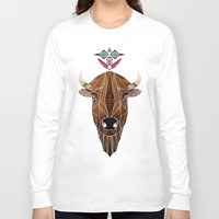 bison Long Sleeve T-shirts featuring bison by Manoou