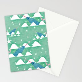 Sea unicorn - Narwhal green Stationery Cards
