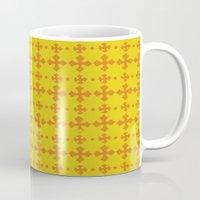 yellow pattern Mugs featuring yellow pattern by JesseRayus