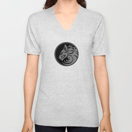 Gray and Black Growling Wolf Disc Unisex V-Neck