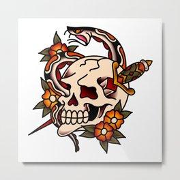 Death and Rebirth Skull Metal Print