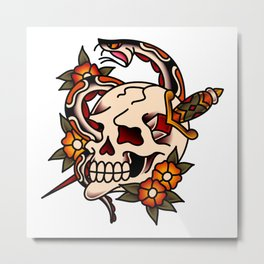 Death and Rebirth Skull Metal Print