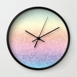 Colorful Rainbow Watercolor Trendy Glitter Mermaid Pastel Iridescent Wall Clock
