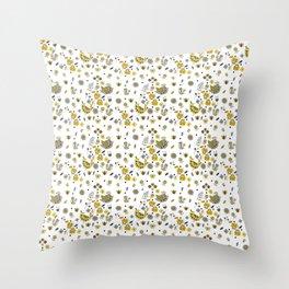 Scandinavian Folklore Yellow and Grey birds Pattern Throw Pillow