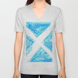 flag of scotland 7– scotland,scot,scottish,Glasgow,Edinburgh,Aberdeen,dundee,uk,cletic,celts,Gaelic Unisex V-Neck