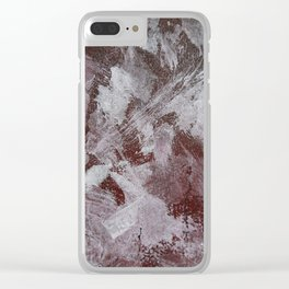 White Ink on Red Background Clear iPhone Case