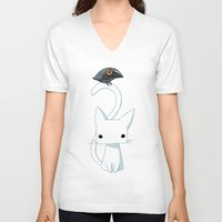 chibi V-neck T-shirts featuring Cat and Raven by Freeminds