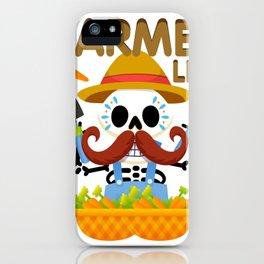 Farmers Funny Life Skeleton Halloween iPhone Case