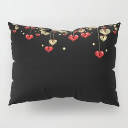 Beautiful glitter shine hearts on black Valentines Day greeting Pillow Sham