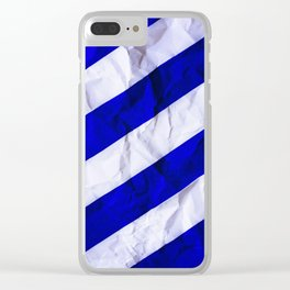 Crumbled Navy Stripes Clear iPhone Case