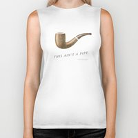 magritte Biker Tanks featuring This Ain't a Pipe. (Southern Magritte) by Old South Inkery