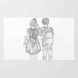 Geometric drawing Japanese couple black and white illustration Rug