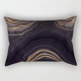 Dark Night Marble With Gold Glitter Waves Rectangular Pillow