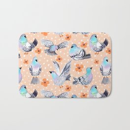 Spring Pigeons on Peach with Flowers and Spots Bath Mat