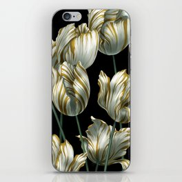 Winter Tulips in Gold. iPhone Skin