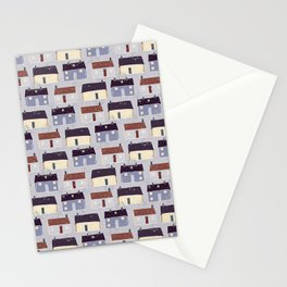 Houses Village Vector Pattern Repeat Seamless Background Stationery Cards