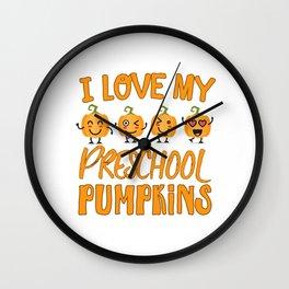Funny Halloween preschool design - little pumpkins Wall Clock