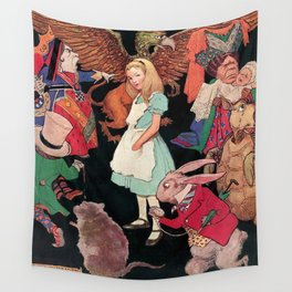 Alice in Wonderland down the Rabbit Hole children's wall decor painting by Jesse Wilcox Smith Wall Tapestry