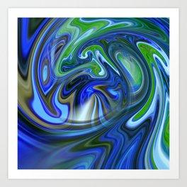 Blue & green flow Art Print