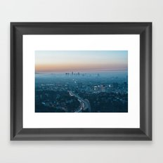 Morning smog and the 101 Freeway, Los Angeles, California, USA. Framed Art Print