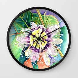 Passiflora edulis f. flavicarpa – Liliko'i, Water Color Wall Clock