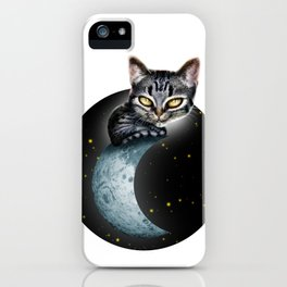 CAT ON THE MOON iPhone Case