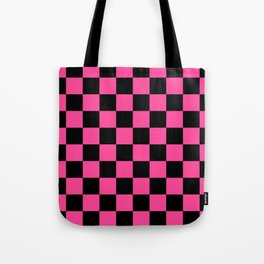 Black and Pink Checkerboard Pattern Tote Bag
