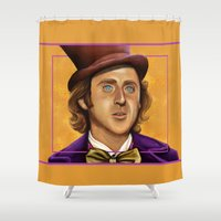 willy wonka Shower Curtains featuring The Wilder Wonka by Shana-Lee