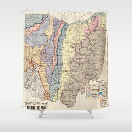 Vintage Geological Map of Ohio (1872) Shower Curtain