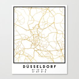 DÜSSELDORF GERMANY CITY STREET MAP ART Canvas Print
