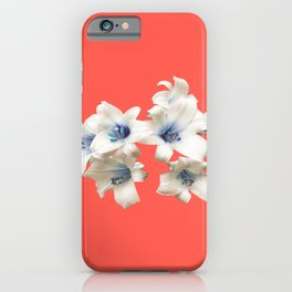 Blue Heart Lilies on Living Coral iPhone Case