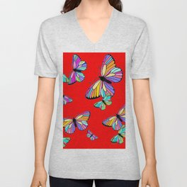 Rainbow Colored Butterflies Red art Design Unisex V-Neck
