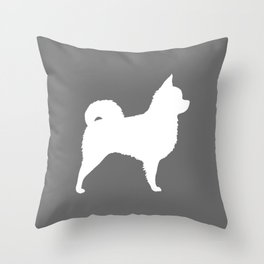 White Long Haired Chihuahua Silhouette Throw Pillow
