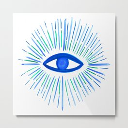 All Seeing Eye in Blue Watercolor Metal Print