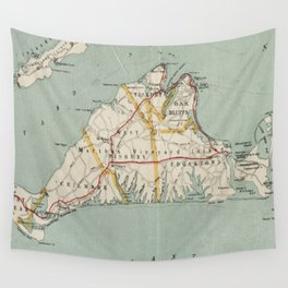 Vintage Map of Martha's Vineyard (1917) Wall Tapestry