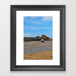 Boat at low tide - Bude, England Framed Art Print
