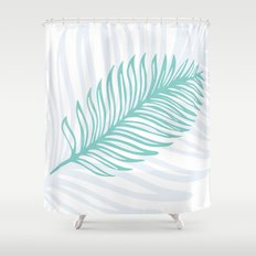 Palm Leaf in Blue and Green Shower Curtain