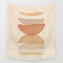 Mid century Modern Art Prints, Printable Geometric Art, Boho Art, Abstract Art , Rainbow, Shapes, Terracotta and Black Prin Wall Tapestry