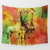giraffe Wall Tapestries featuring Giraffe  by Saundra Myles