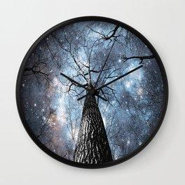 Wintry Trees Galaxy Skies Steel Blue Wall Clock