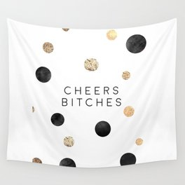 CHEERS BITCHES SIGN, Funny Bar Decor,Funny Print,Bar Wall Decor,Home Bar Decor,Party Gift,Drink Sign Wall Tapestry