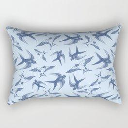 Swooping Swallows in Blue Rectangular Pillow
